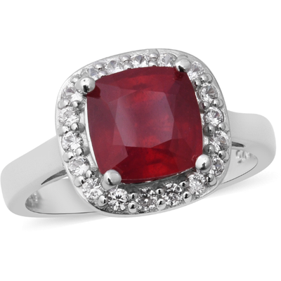 Ruby & White Zircon Halo Ring in Platinum over Sterling Silver Gemstone Collectors U.S.