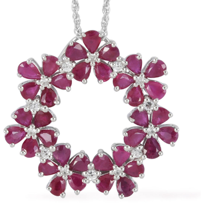 Ruby & White Zircon Necklace in Platinum over Sterling Silver Gemstone Collectors U.S.