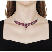 "Ruby & Zircon Bolo Adjustable Necklace (18"") in Platinum over Sterling Silver Gemstone Collectors U.S."