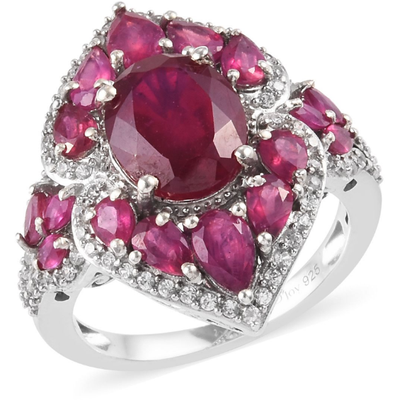 Ruby & Zircon Cluster Ring in Platinum over Sterling Silver Gemstone Collectors U.S.
