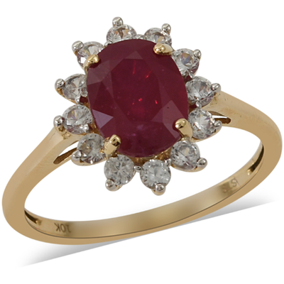Ruby & Zircon Halo Ring in 10K Yellow Gold Gemstone Collectors U.S.