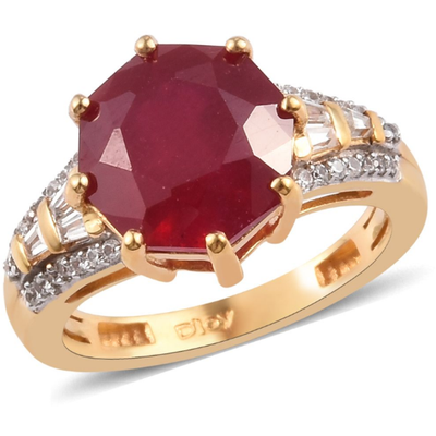 Ruby & Zircon Ring in Yellow Gold over Sterling Silver Gemstone Collectors U.S.