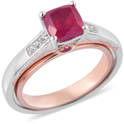 Ruby & Zircon Swival Ring in Rose Gold & Platinum over Sterling Silver Gemstone Collectors U.S.