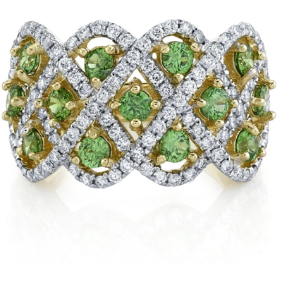 Russian Demantoid Garnet & Diamond 14k Yellow Gold Band Ring Gemstone Collectors U.S.