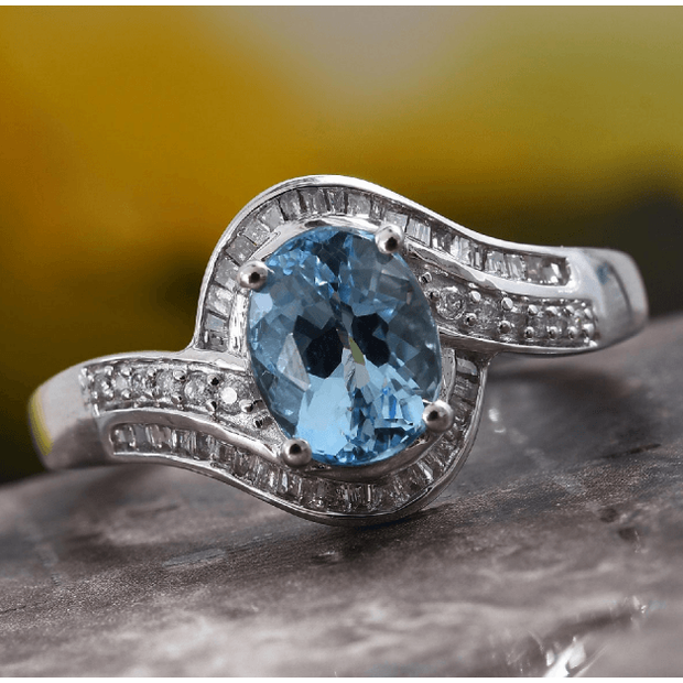 Santa Maria Aquamarine & Diamond Bypass Ring in 14K White Gold Gemstone Collectors U.S.