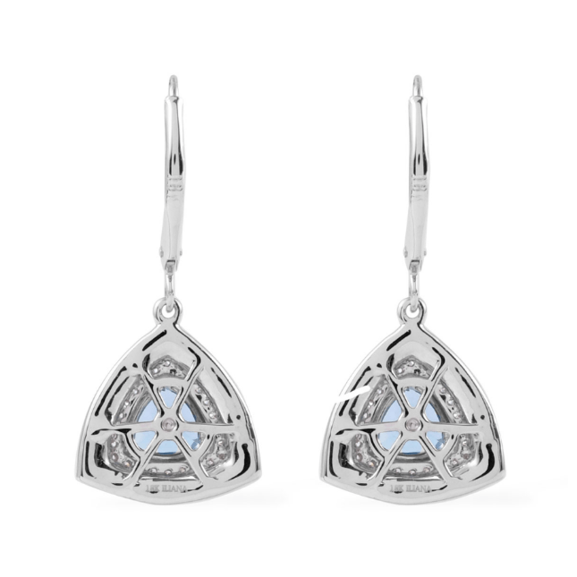 Santa Maria Aquamarine & Diamond Dangle Earrings in 18K White Gold Gemstone Collectors U.S.