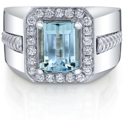 Santa Maria Aquamarine & Diamond Men's Ring in 14K White Gold Gemstone Collectors U.S.