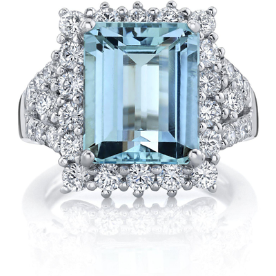 Santa Maria Aquamarine & Diamond Ring in 14K White Gold Gemstone Collectors U.S.