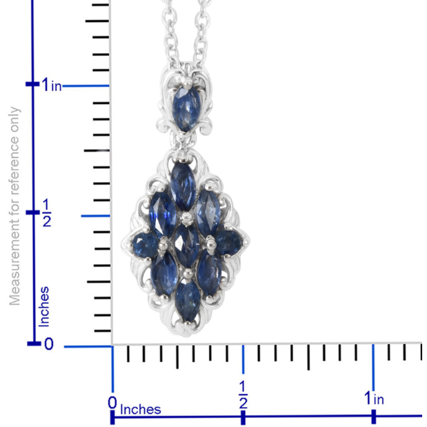 Sapphire Necklace in Platinum over Sterling Silver Gemstone Collectors U.S.