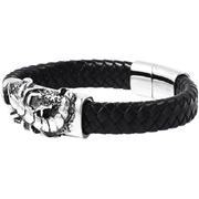 "Scorpion Bracelet in Genuine Leather & Black Oxidized Stainless Steel (8.50"") Gemstone Collectors U.S."