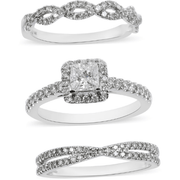Set of 3 Brilliant Cut Diamond Wedding Rings set in 14K White Gold 1.20ctw Gemstone Collectors U.S.