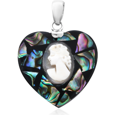 Shell Cameo & Abalone Shell Heart Pendant in Sterling Silver Gemstone Collectors U.S.