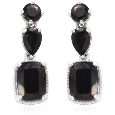 Shungite Dangle Earrings in Platinum over Sterling Silver Gemstone Collectors U.S.