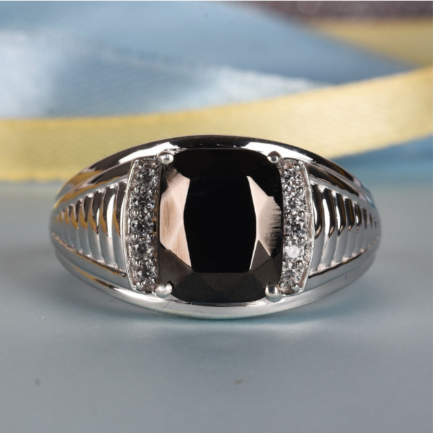 Shungite & Zircon Men's Ring in Platinum over Sterling Silver Gemstone Collectors U.S.