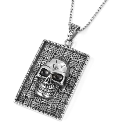 Skull Dog Tag Men's Necklace in Surgical Grade Stainless Steel Gemstone Collectors U.S.