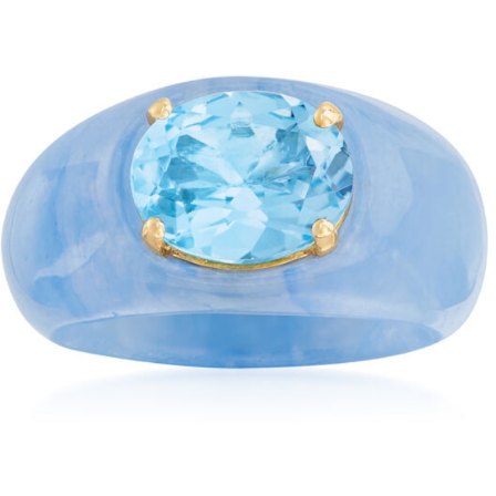 Sky Blue Topaz & Blue Jade Ring with 14k Yellow Gold Gemstone Collectors U.S.