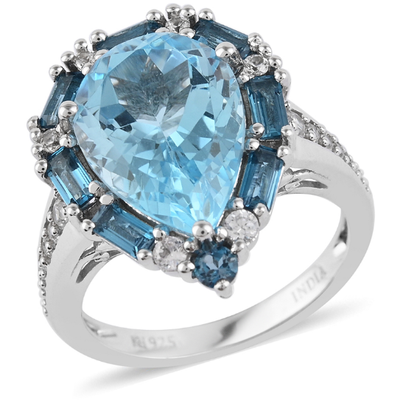 Sky Blue Topaz & Multi Gemstone Halo Ring in Platinum over Sterling Silver Gemstone Collectors U.S.