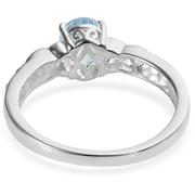 Sky Blue & White Topaz Solitaire Ring in Platinum over Sterling Silver Gemstone Collectors U.S.