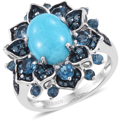 Sleeping Beauty Turquoise, London Blue Topaz & Blue Diamond Ring in Platinum over Sterling Silver Gemstone Collectors U.S.