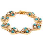 Sleeping Beauty Turquoise & Multi Gemstone Bracelet in 14K Yellow Gold over Sterling Silver Gemstone Collectors U.S.