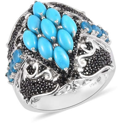 Sleeping Beauty Turquoise & Multi Gemstone Cocktail Ring in Platinum over Sterling Silver Gemstone Collectors U.S.