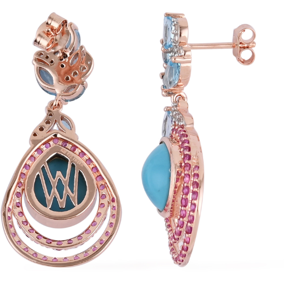 Sleeping Beauty Turquoise & Multi Gemstone Earrings in 14K Rose Gold over Sterling Silver Gemstone Collectors U.S.
