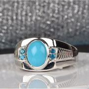 Sleeping Beauty Turquoise & Neon Blue Apatite Men's Ring in Platinum over Sterling Silver Gemstone Collectors U.S.
