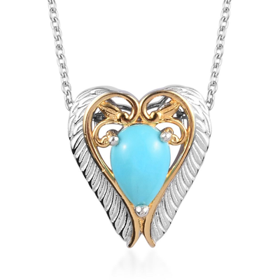 Sleeping Beauty Turquoise Pendant Necklace in Yellow Gold & Platinum over Sterling Silver Gemstone Collectors U.S.