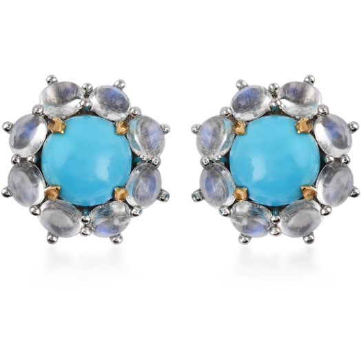 Sleeping Beauty Turquoise & Rainbow Moonstone Earrings in Platinum over Sterling Silver Gemstone Collectors U.S.