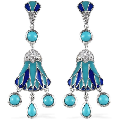 Sleeping Beauty Turquoise & Zircon Dangle Earrings in Platinum over Sterling Silver Gemstone Collectors U.S.