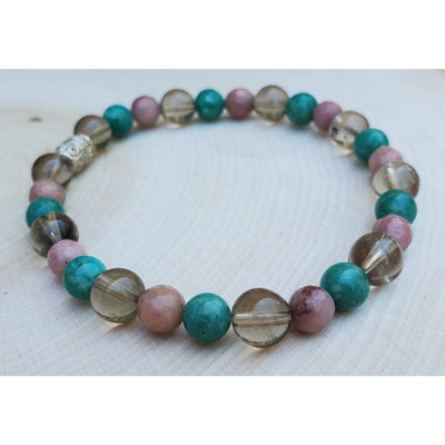 Smokey Quartz, Amazonite and Rhodonite Bracelet Mindful Creations by Gloria