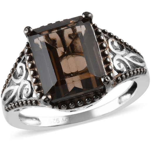 Smoky Quartz Ring in Platinum over Sterling Silver Gemstone Collectors U.S.