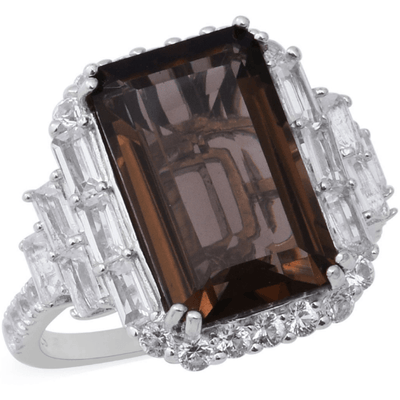 Smoky Quartz & White Topaz Ring in Platinum Over Sterling Silver Gemstone Collectors U.S.