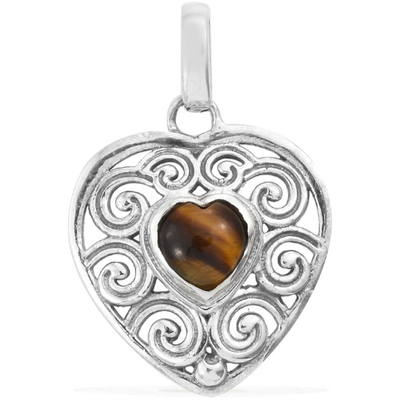 South African Tigers Eye Swirl Heart Pendant in Sterling Silver Gemstone Collectors U.S.