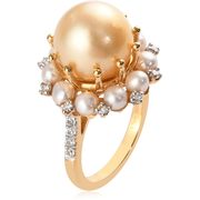 South Sea Golden Cultured Pearl & Multi Gemstone Halo Ring in Yellow Gold over Sterling Silver Gemstone Collectors U.S.
