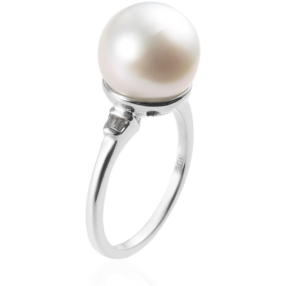South Sea White Cultured Pearl 11-12mm & Diamond Ring in 10K White Gold Gemstone Collectors U.S.