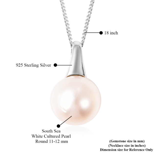 "South Sea White Pearl 11-12 mm Pendant Necklace 18"" in Platinum over Sterling Silver Gemstone Collectors U.S."