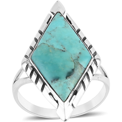 Southwestern Style Kingman Turquoise Ring in Platinum over Sterling Silver Gemstone Collectors U.S.