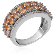 Spessartite Garnet & White Zircon Cluster Band Ring in Platinum over Sterling Silver Gemstone Collectors U.S.