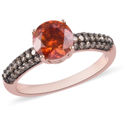 Sphalerite & Champagne Diamond Ring in Rose Gold over Sterling Silver Gemstone Collectors U.S.