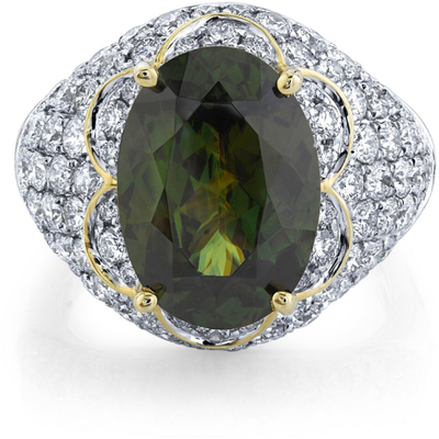 Sphene & Diamond 14k Yellow Gold Ring Gemstone Collectors U.S.