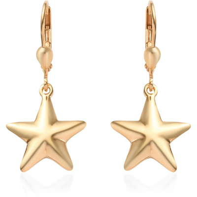Star Dangle Earrings in Vermiel Yellow Gold over Sterling Silver Gemstone Collectors U.S.