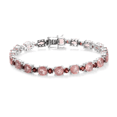 Sunstone & Mozambique Garnet Tennis Bracelet in Platinum over Sterling Silver Gemstone Collectors U.S.