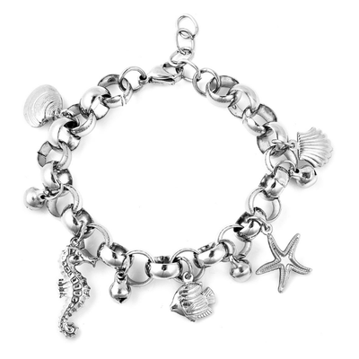 "Surgical Grade Stainless Steel Ocean Charm Bracelet 7"" Gemstone Collectors U.S."