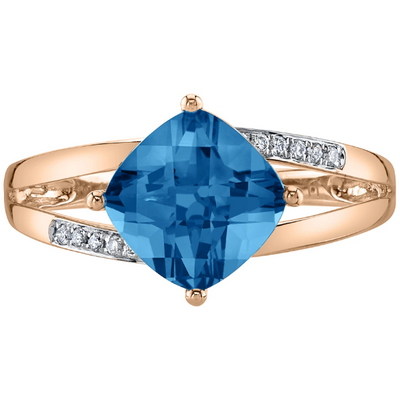 Swiss Blue Topaz & Diamond Ring in 14K Rose Gold Gemstone Collectors U.S.
