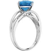 Swiss Blue Topaz & Diamond Ring in 14K White Gold Gemstone Collectors U.S.