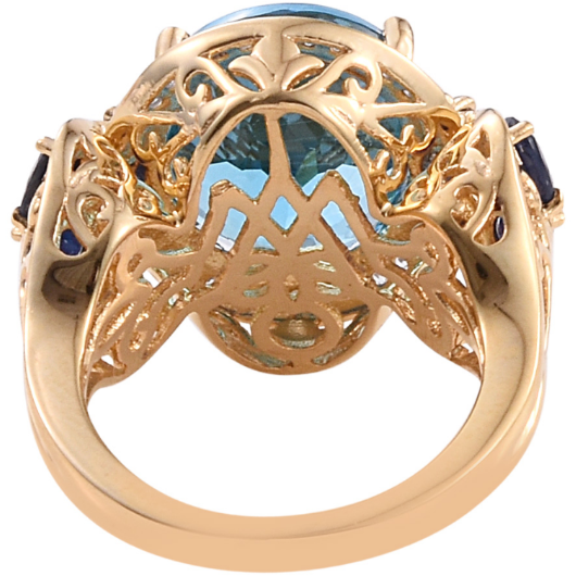 Swiss Blue Topaz & Multi Gemstone Ring in 14K Yellow Gold over Sterling Silver Gemstone Collectors U.S.