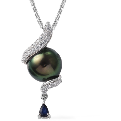 "Tahitian Pearl 12mm & Multi Gemstone Pendant Necklace 20"" in Platinum over Sterling Silver Gemstone Collectors U.S."