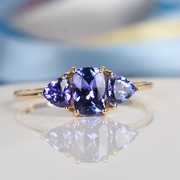 Tanzanite 3 Stone Ring in 10K Yellow Gold Gemstone Collectors U.S.