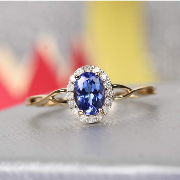 Tanzanite & Diamond Halo Ring in 10K Yellow Gold Gemstone Collectors U.S.